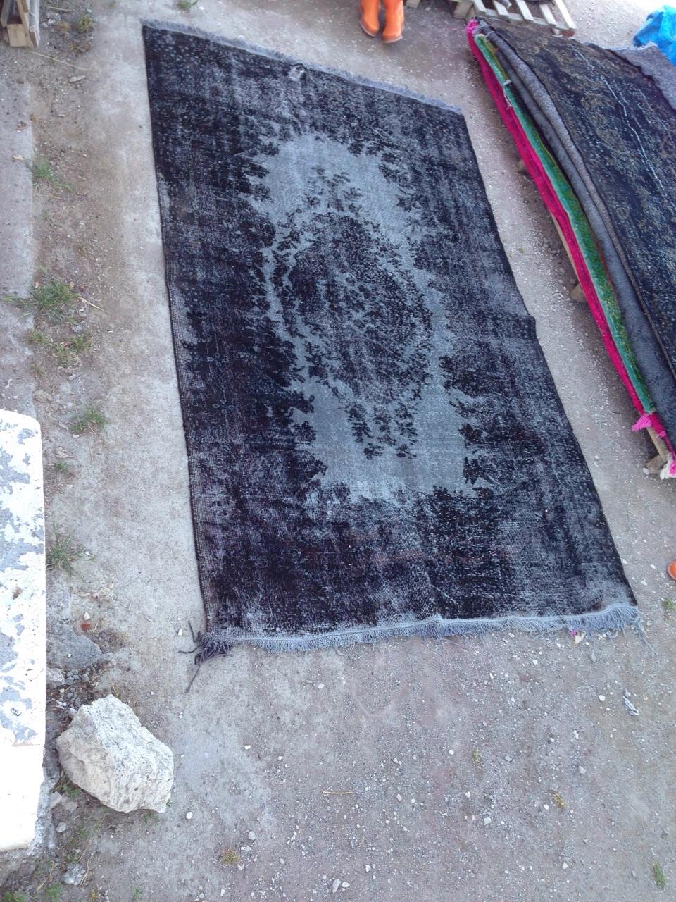 NIEUW INGEKOCHT  antraciet vintage vloerkleed  uit Turkije 302cm x 180cm, no 2785