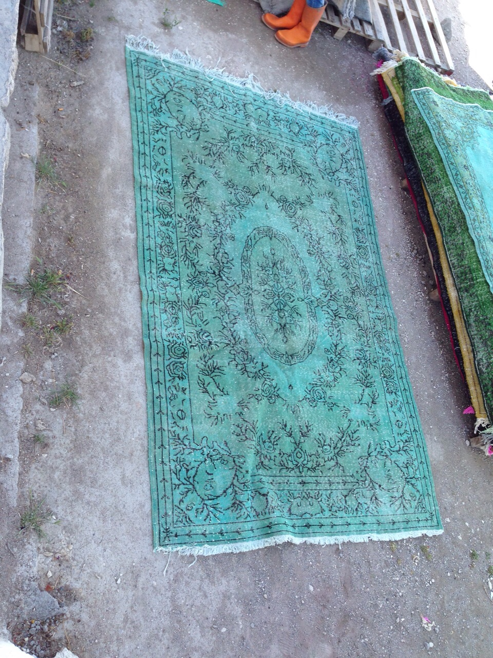 NIEUW INGEKOCHT  zeegroen vintage vloerkleed  uit Turkije 281cm x 195cm, no 2799