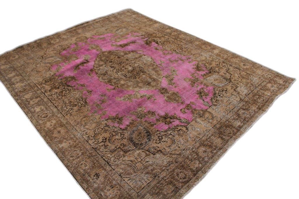 30 tot 80 jaar oud opnieuw gekleurd vloerkleed  (geschoren en gewassen) 353cm x 293cm, no 1055