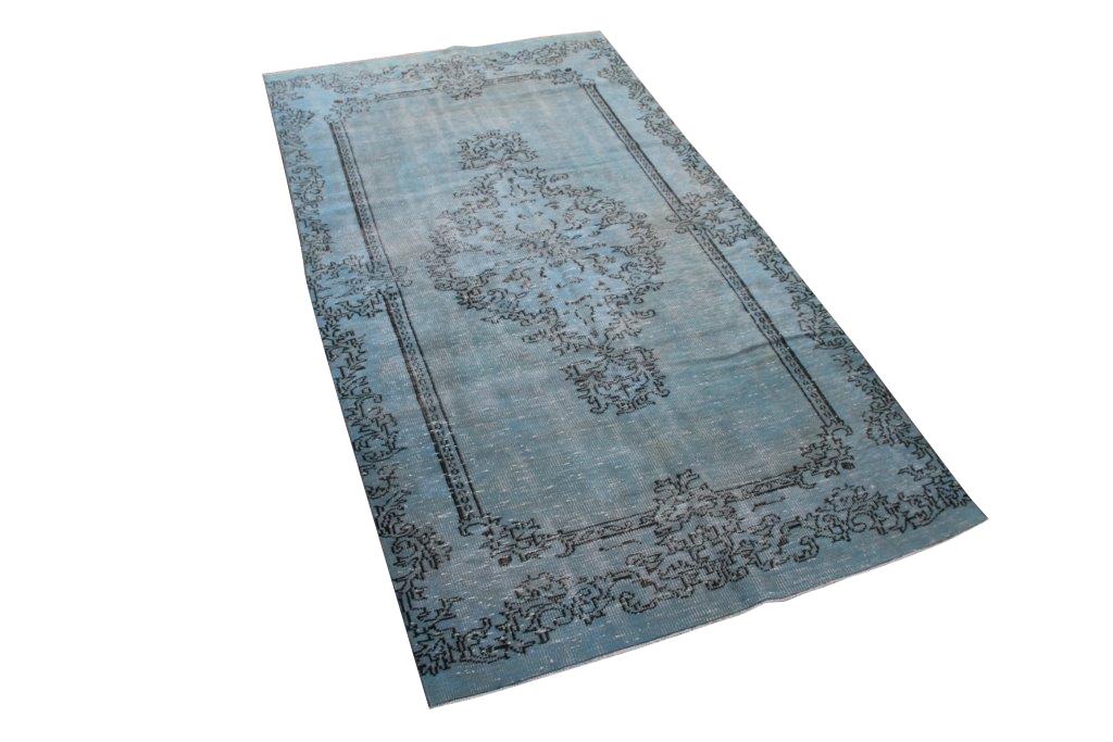 Vintage vloerkleed, blauw, 274cm x 153cm