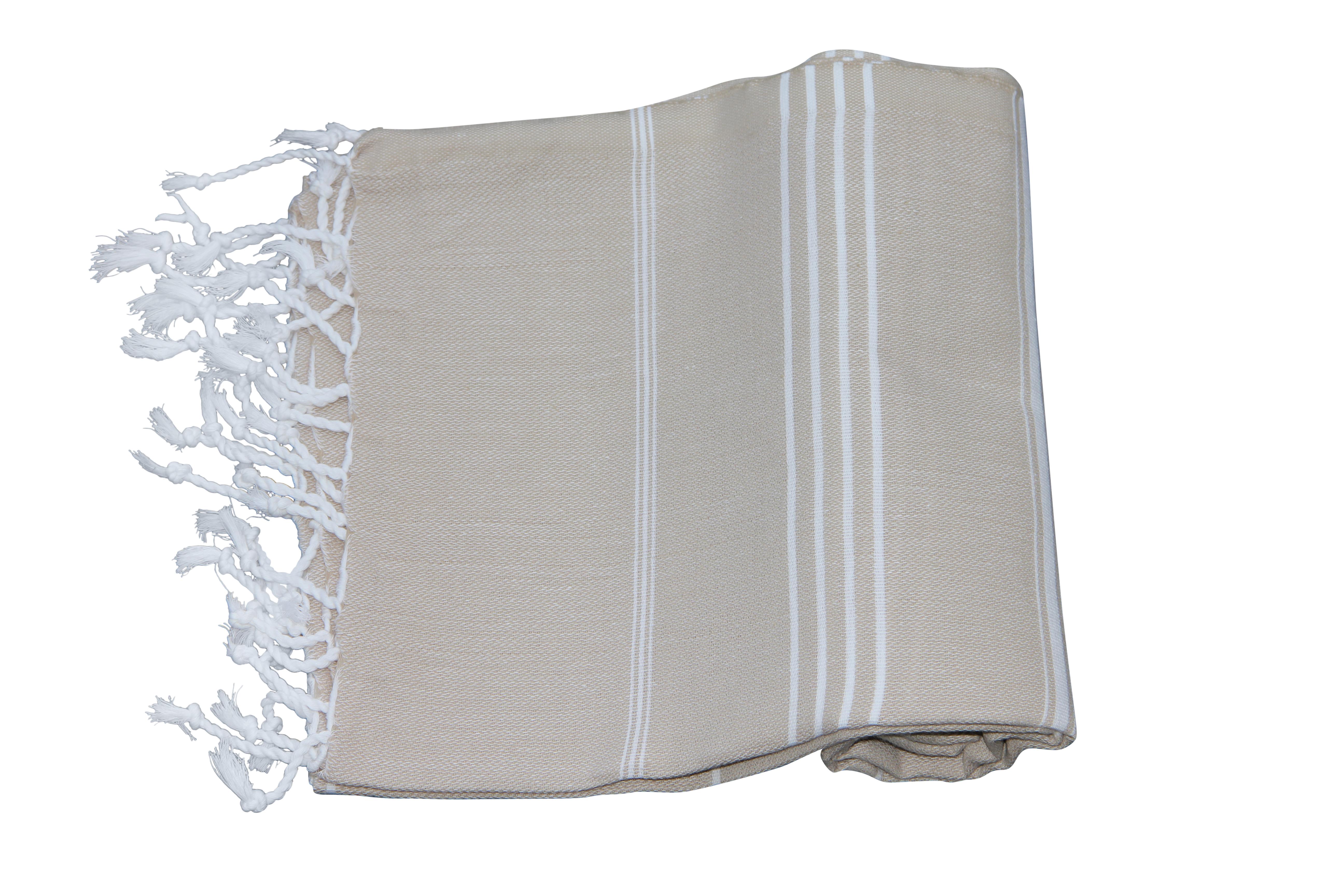 Afbeelding van hamamdoek beige 100% katoen (180cm x 100cm) 100% geweven katoenen