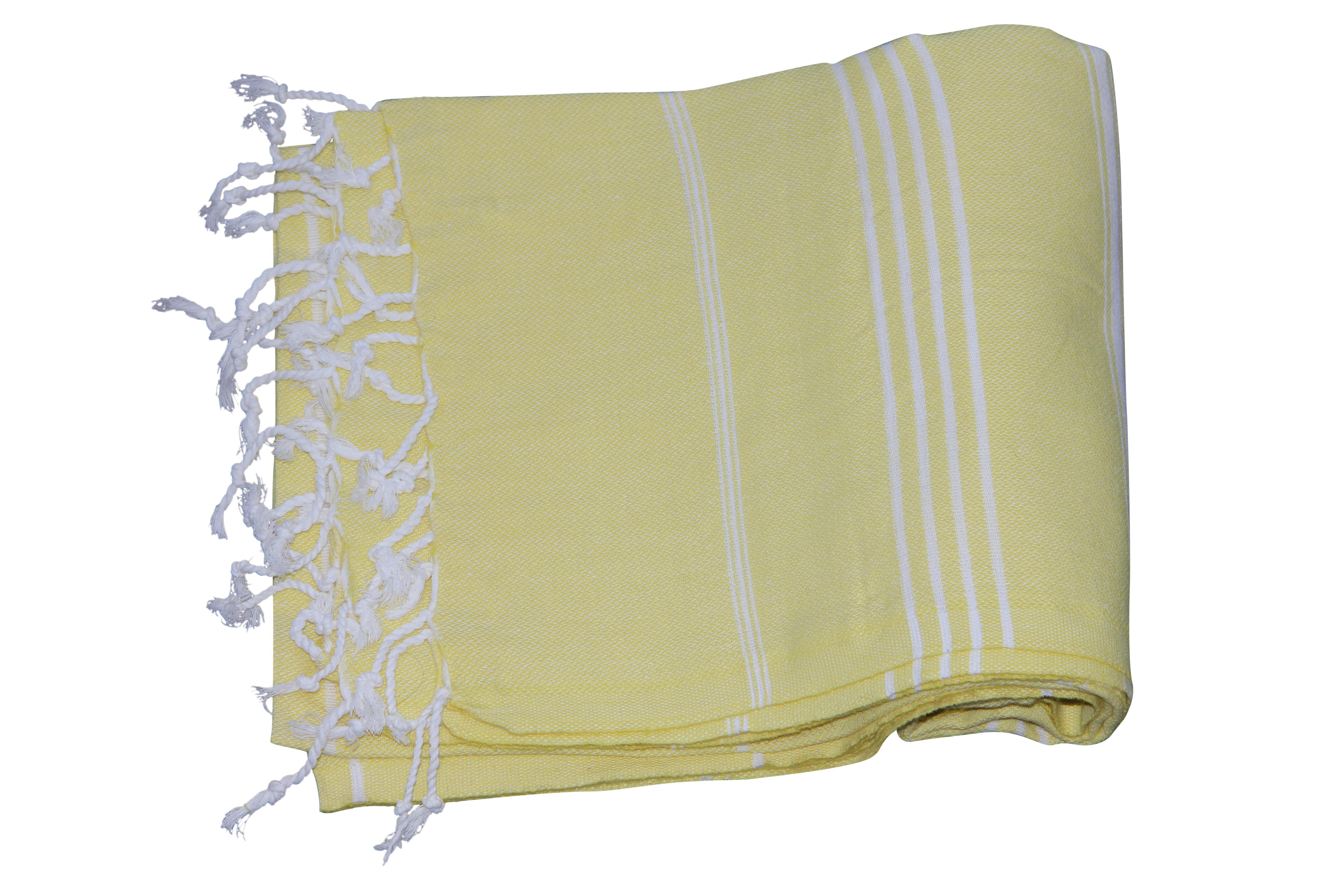 Hamamdoek, zacht geel, 100% katoen 180cm x 100cm  100% geweven katoenen handdoek. Ideaal voor strand en onderweg. Tevens leuke cadeau tip!