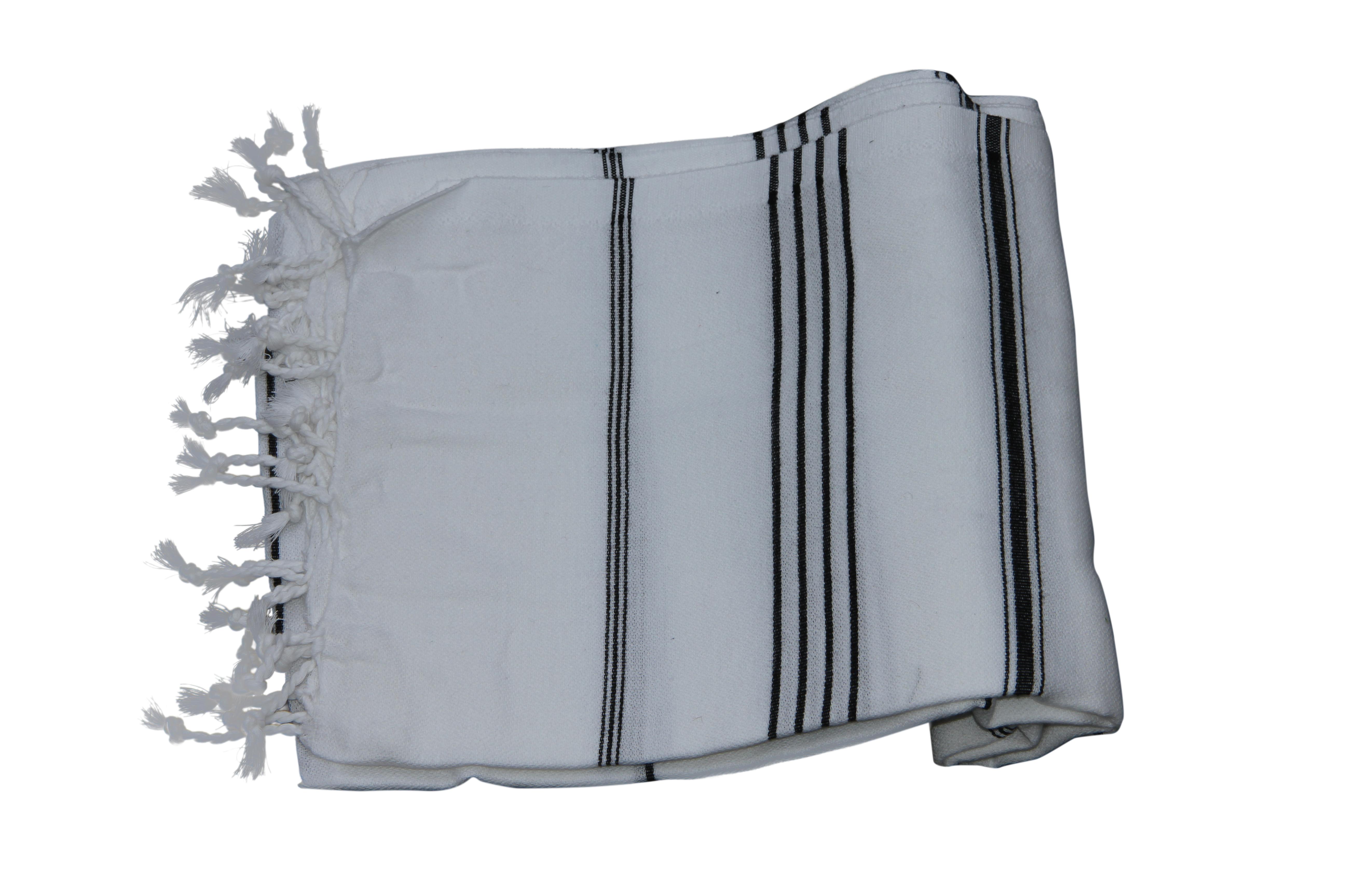 Hamamdoek wit met zwarte streep, 100% katoen (100cm x 180cm)  100% geweven katoenen handdoek. Ideaal voor strand en onderweg. Tevens leuke cadeau tip!
