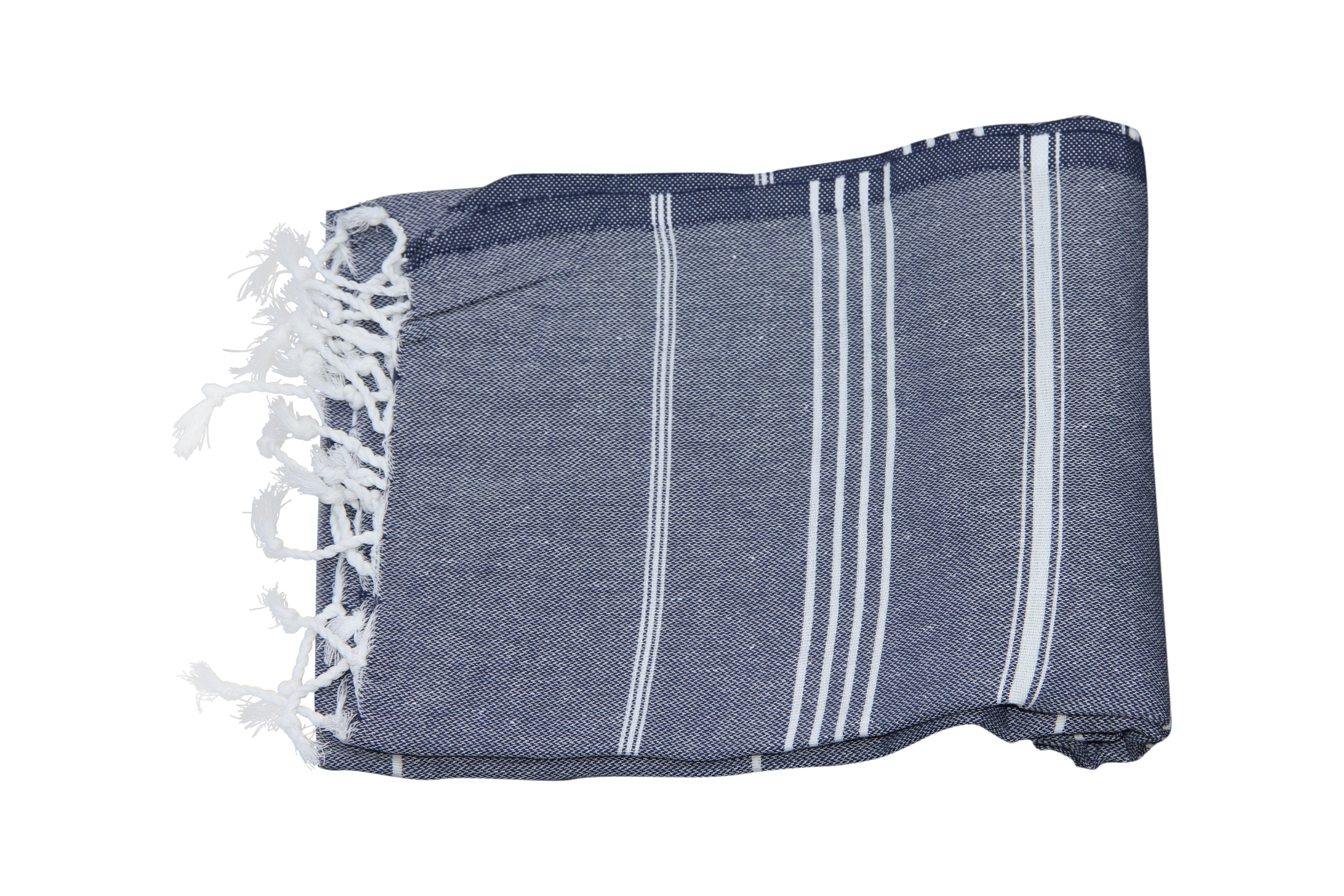 Afbeelding van Hamamdoek donker blauw 100% katoen, 100cm x 180cm
