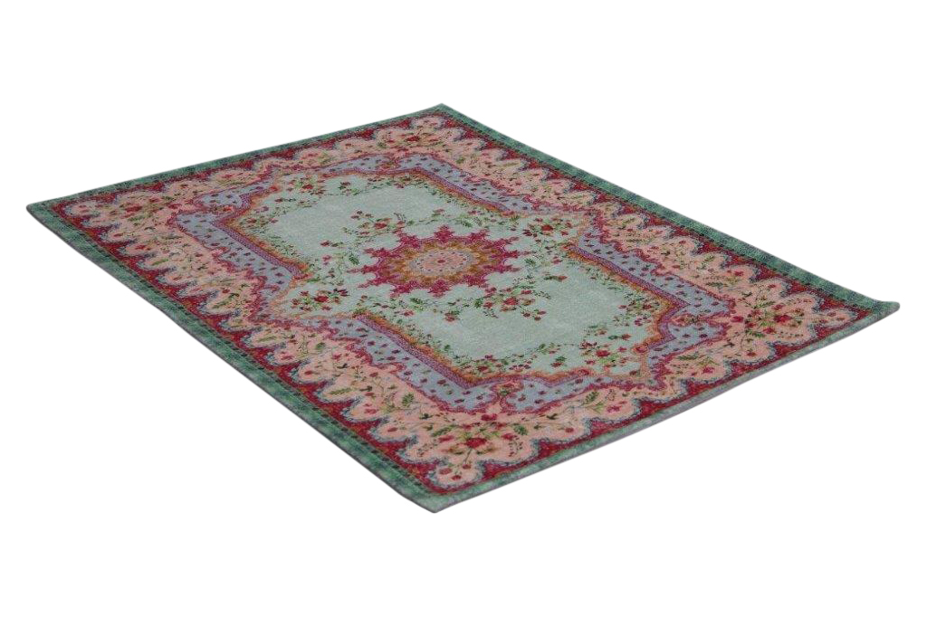 Badmat van rozenkelim met pastel kleuren