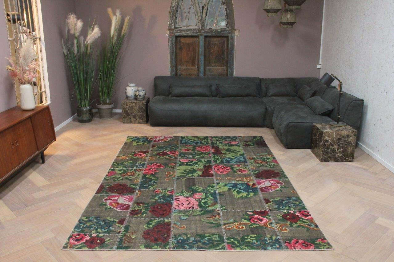 patchwork rozenkelim vloerkleed
