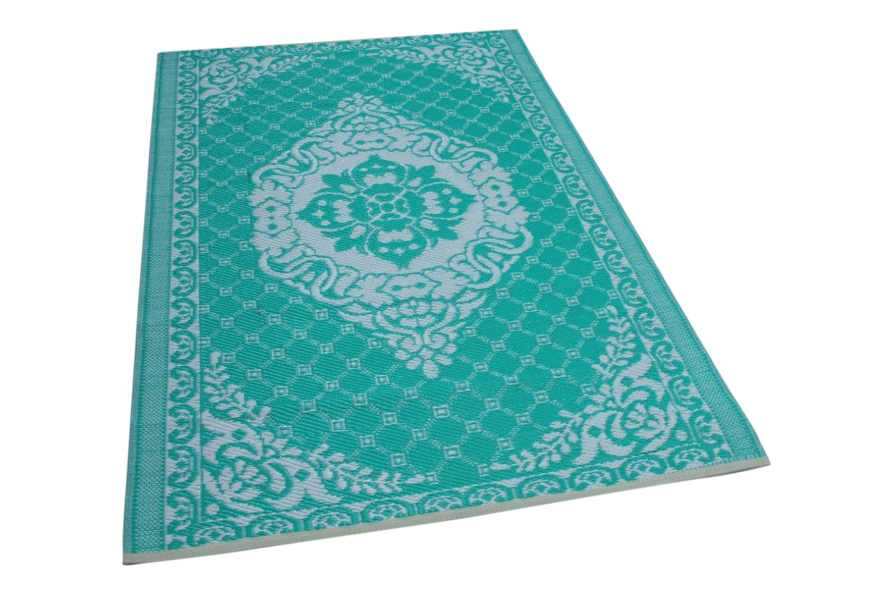 Buitenkleed turquoise wit 3916