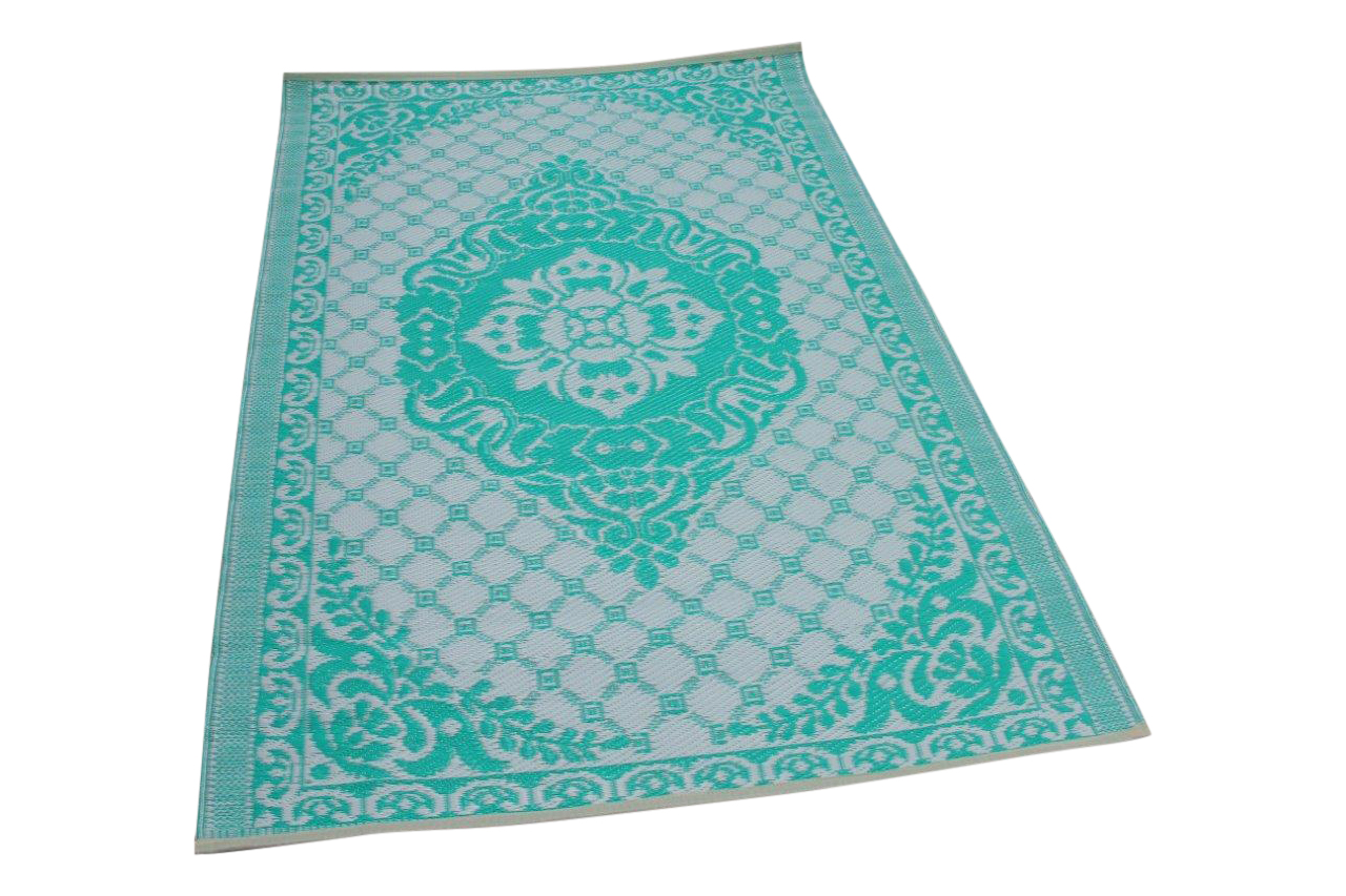 Buitenkleed wit turquoise 3916