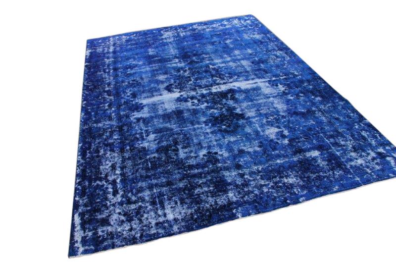 Groot indigo blauw vintage vloerkleed met blauw 369cm x 265cm  (nr52210)