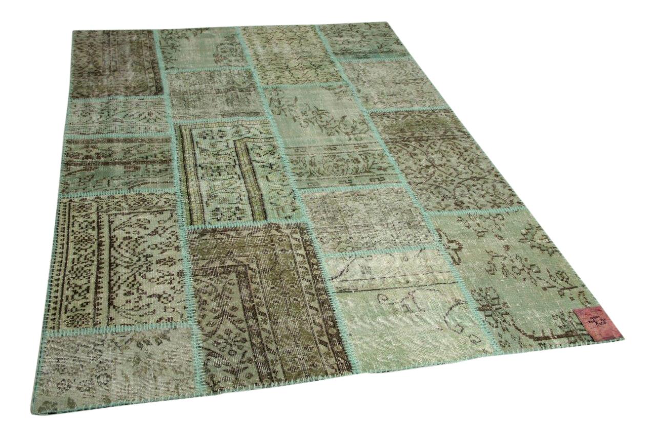 Jade groen patchwork vloerkleed 239cm x 172cm