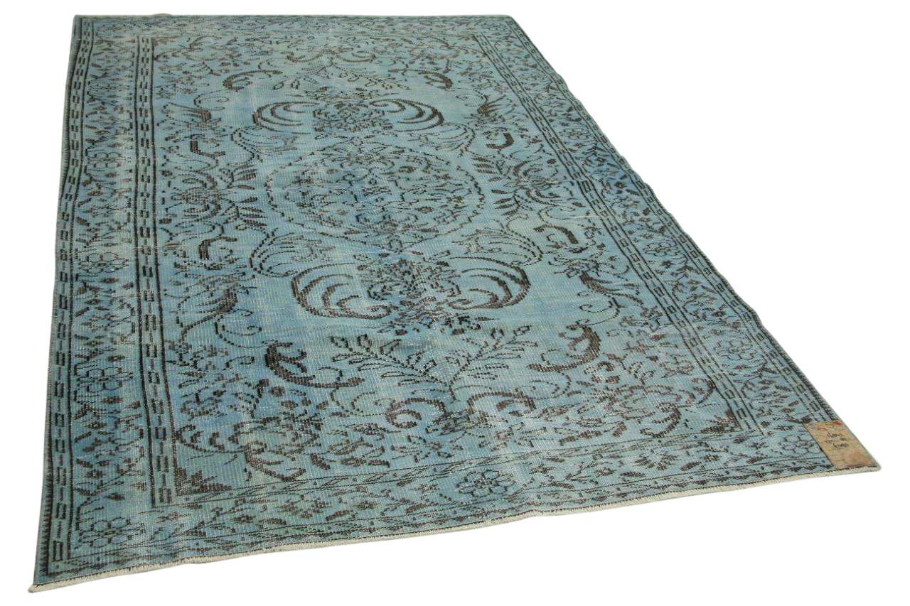 Vintage vloerkleed jeansblauw 272cm x 182cm nr16841