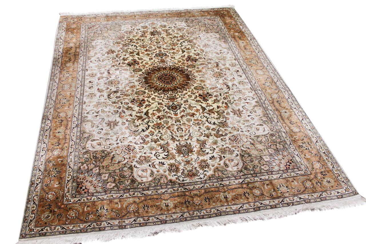Tabriz vloerkleed met zijde 43525