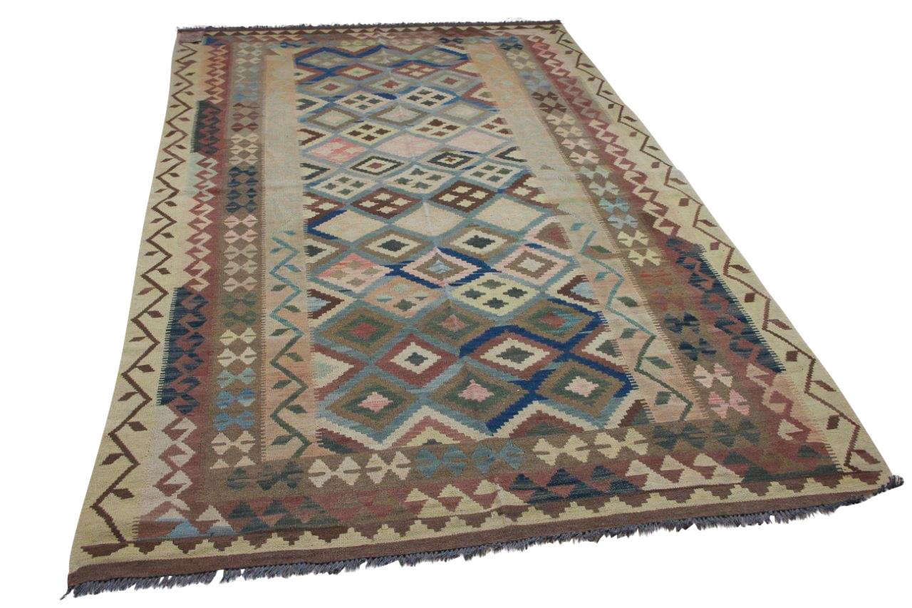 Handgemaakte kelim uit Afghanistan 4322 304cm x 181cm