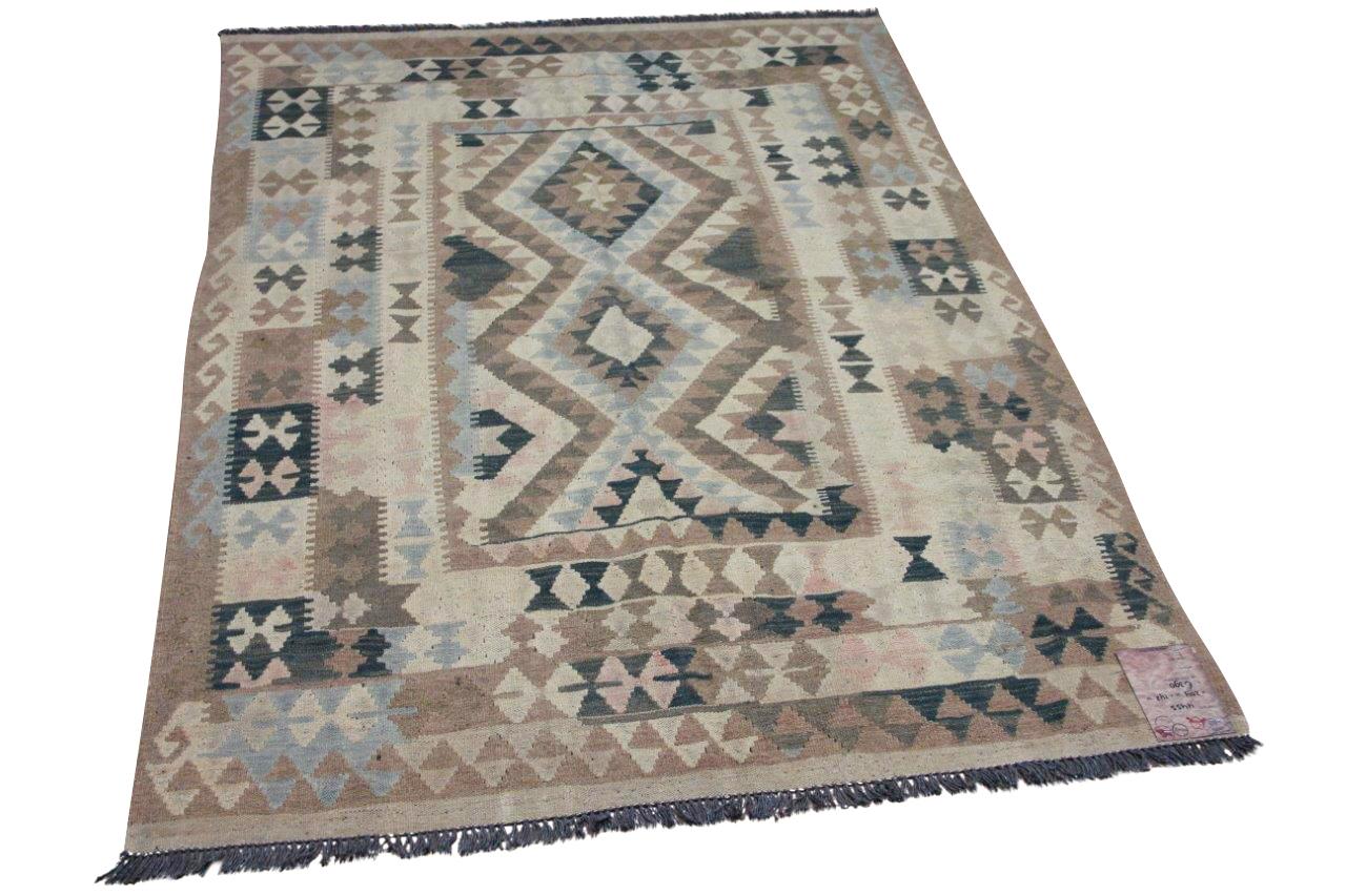 Handgemaakte kelim uit Afghanistan 4455 204cm x 142cm