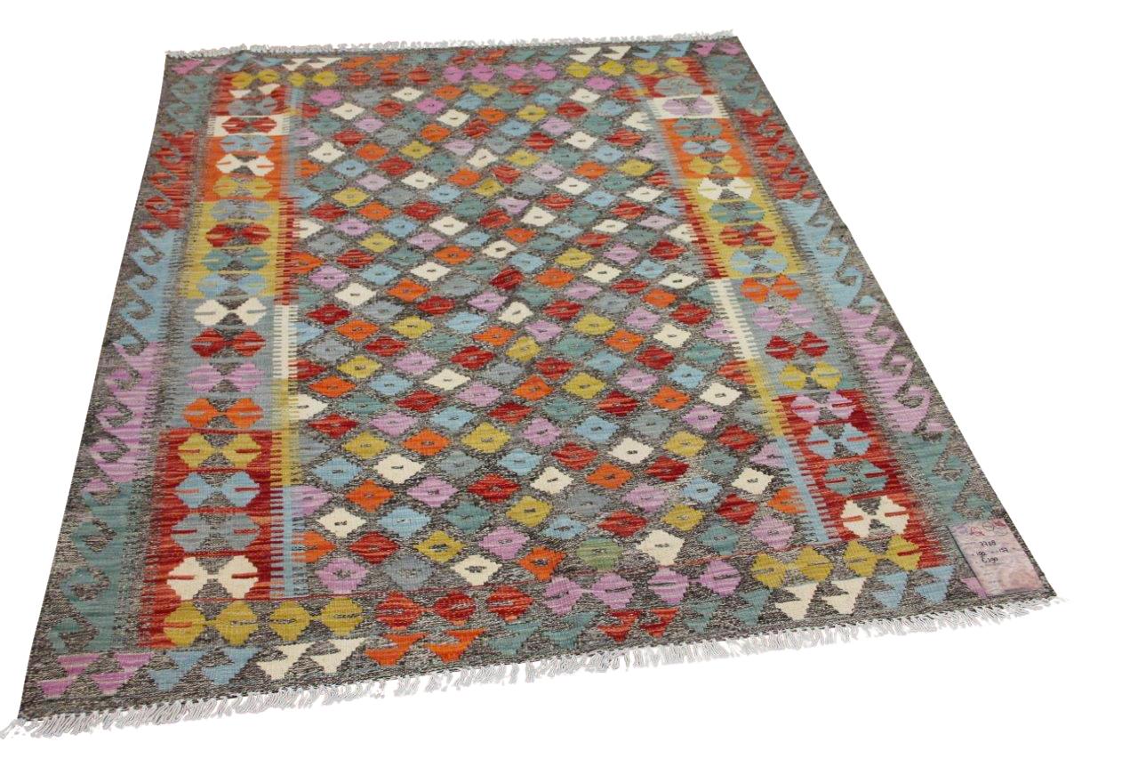 Handgemaakte kelim uit Afghanistan 7728 190cm x 157cm