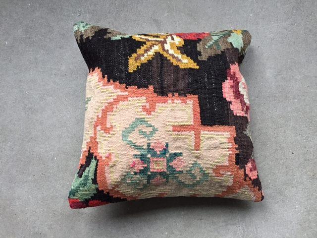 Rozenkelim kussen nr 13005 (40cm x 40cm) Kussen gemaakt van authentieke rozenkelim, inclusief binnenkussen