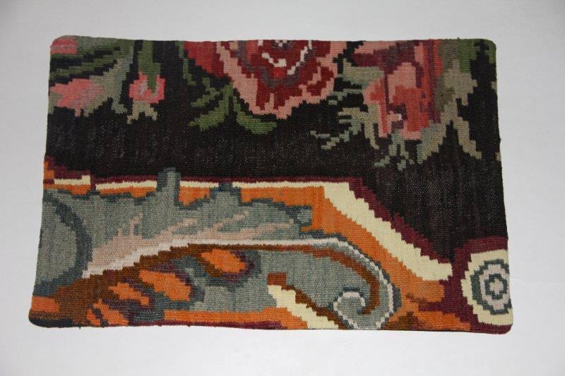 Kelimkussen nr 1821 (60cm x 40cm) incl. binnenkussen. Kussen gemaakt van authentieke rozenkelim