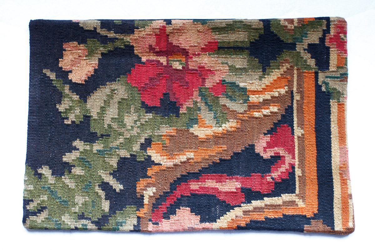 Rozenkelim kussen nr 1510 (60cm x 40cm) Kussen gemaakt van authentieke rozenkelim, inclusief binnenkussen