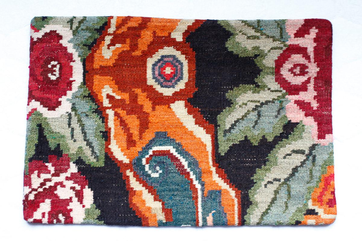 Rozenkelim kussen nr 1514 (60cm x 40cm) Kussen gemaakt van authentieke rozenkelim, inclusief binnenkussen