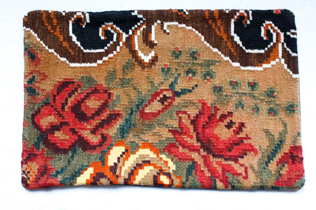 Rozenkelim kussen nr 1517 (60cm x 40cm) Kussen gemaakt van authentieke rozenkelim, inclusief binnenkussen