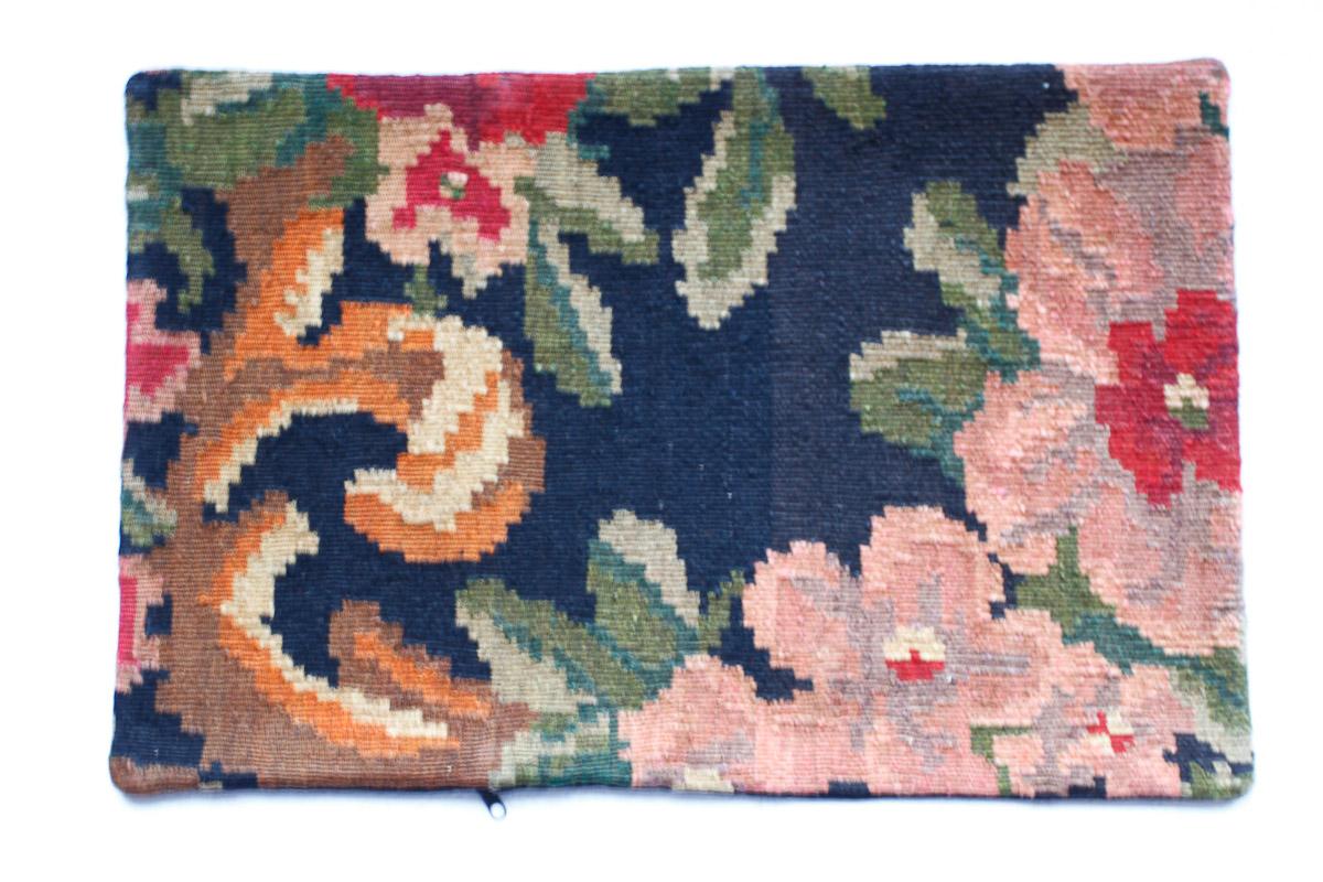 Rozenkelim kussen nr 1523 (60cm x 40cm) Kussen gemaakt van authentieke rozenkelim, inclusief binnenkussen