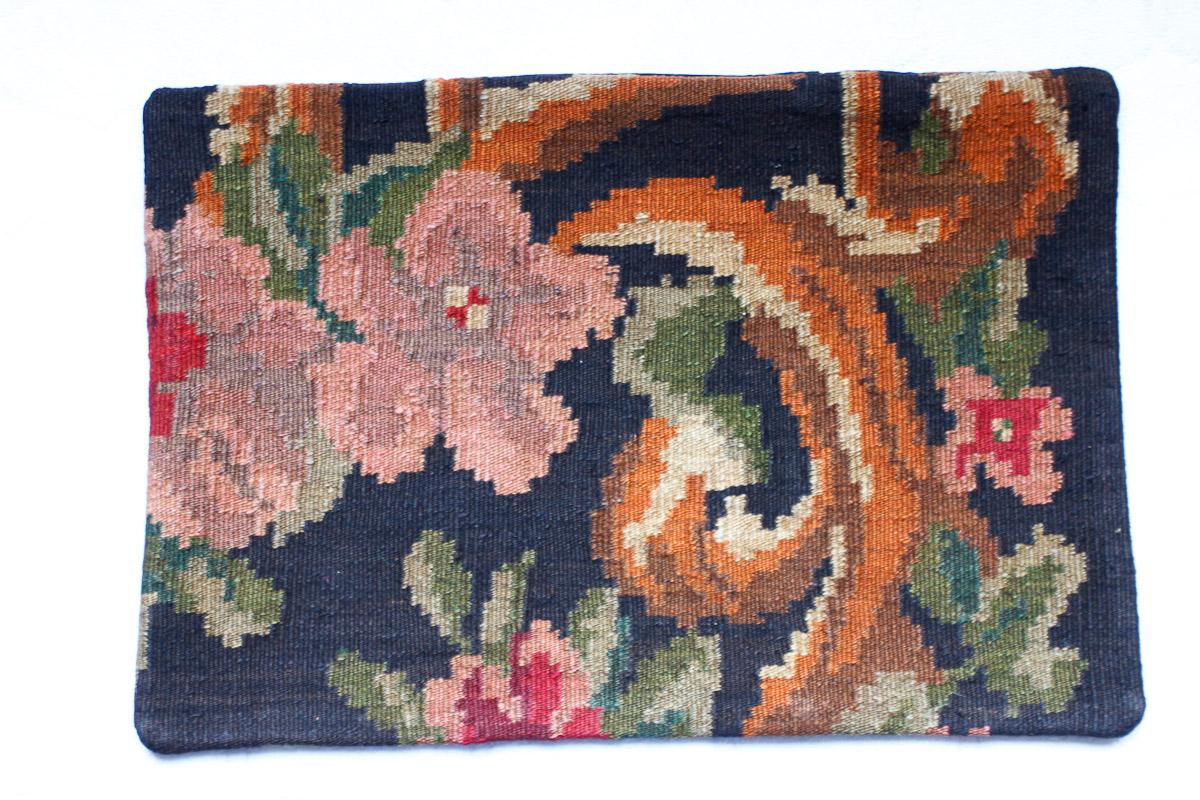 Rozenkelim kussen nr 1527 (60cm x 40cm) Kussen gemaakt van authentieke rozenkelim, inclusief binnenkussen
