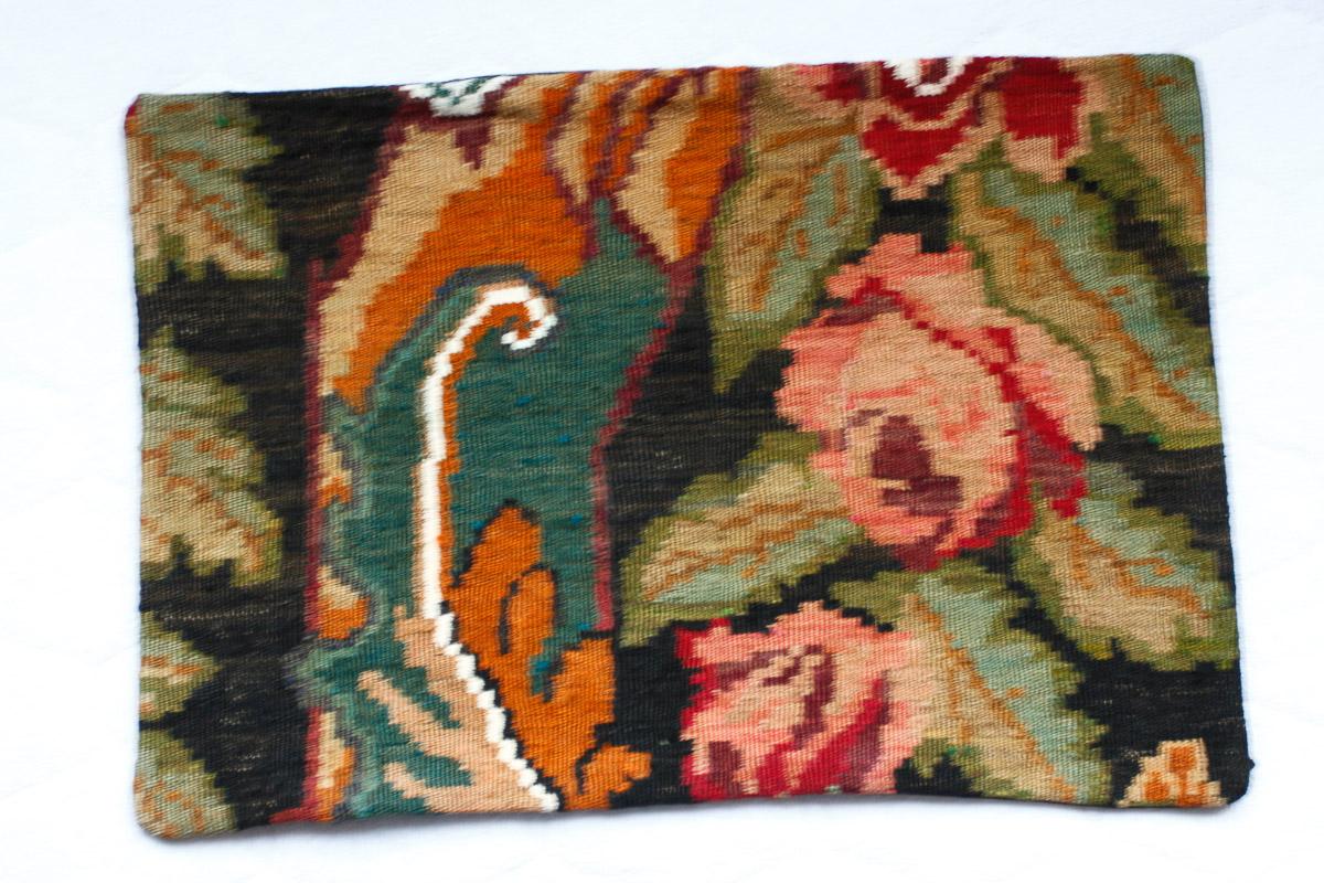 Rozenkelim kussen nr 1531 (60cm x 40cm) Kussen gemaakt van authentieke rozenkelim, inclusief binnenkussen