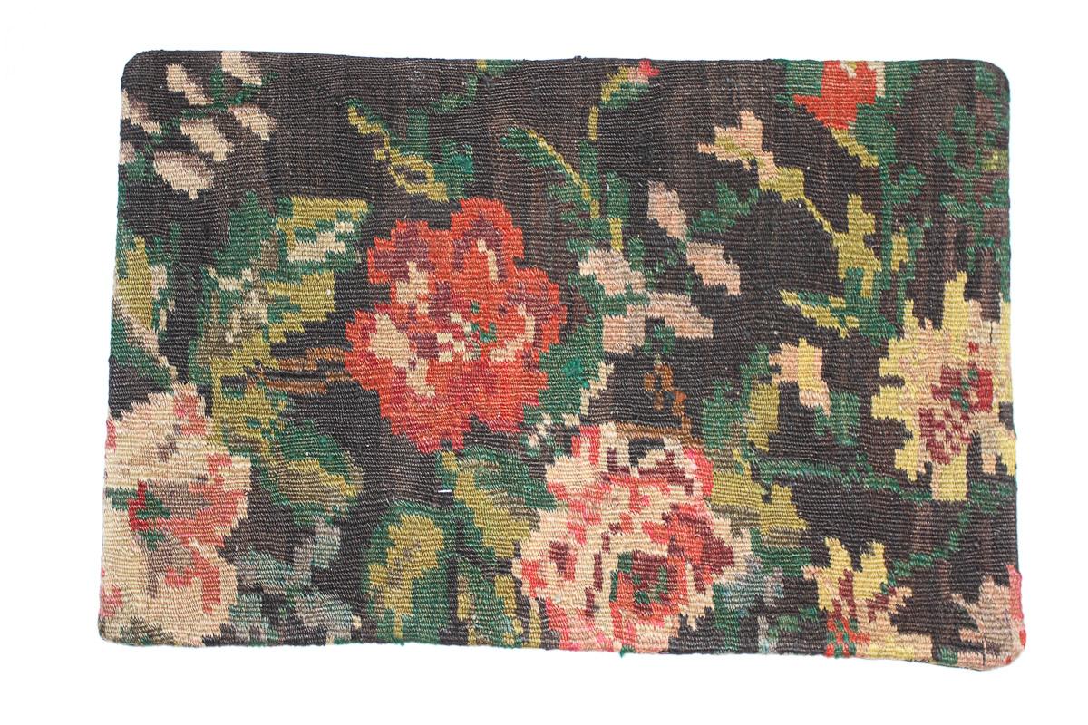 Rozenkelim kussen nr 1543 (60cm x 40cm) Kussen gemaakt van authentieke rozenkelim, inclusief binnenkussen
