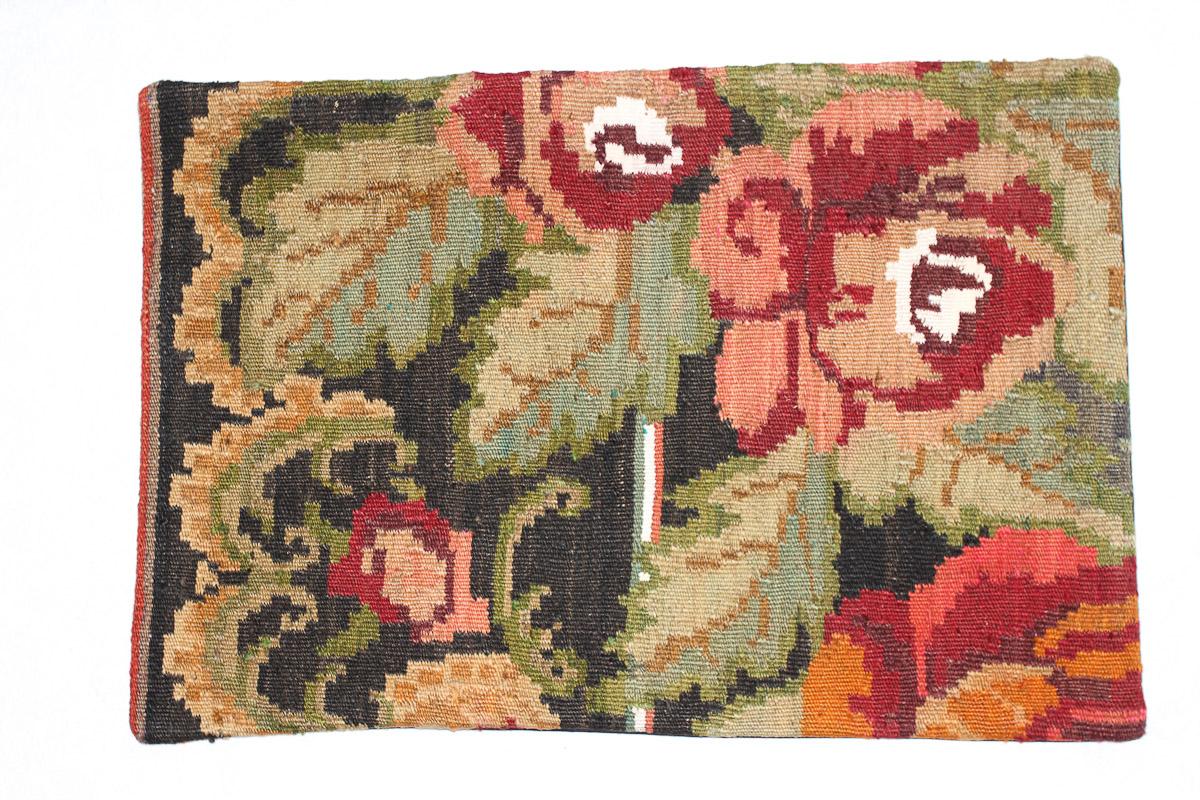 Rozenkelim kussen nr 1546 (60cm x 40cm) Kussen gemaakt van authentieke rozenkelim, inclusief binnenkussen