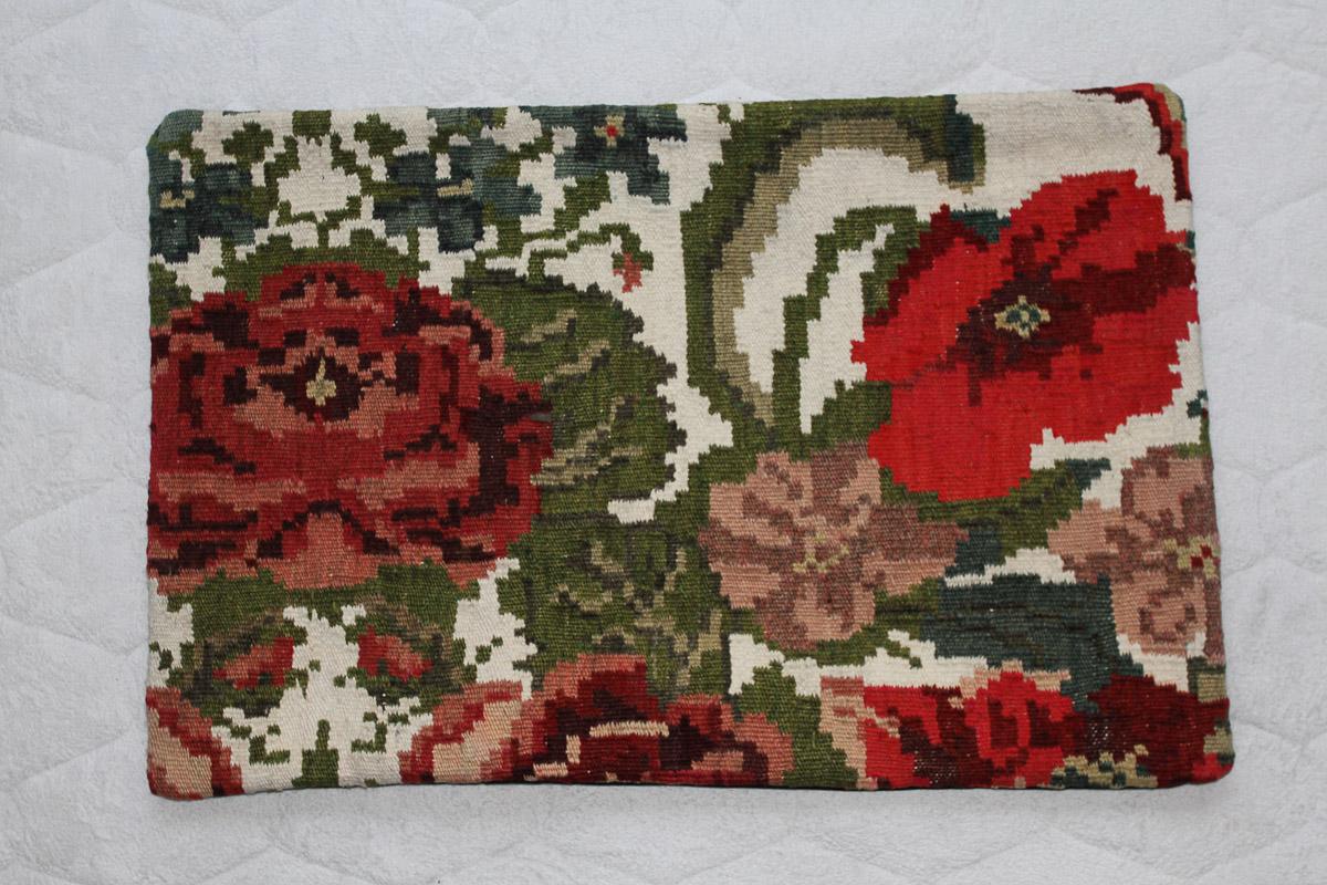Rozenkelim kussen nr 1549 (60cm x 40cm) Kussen gemaakt van authentieke rozenkelim, inclusief binnenkussen