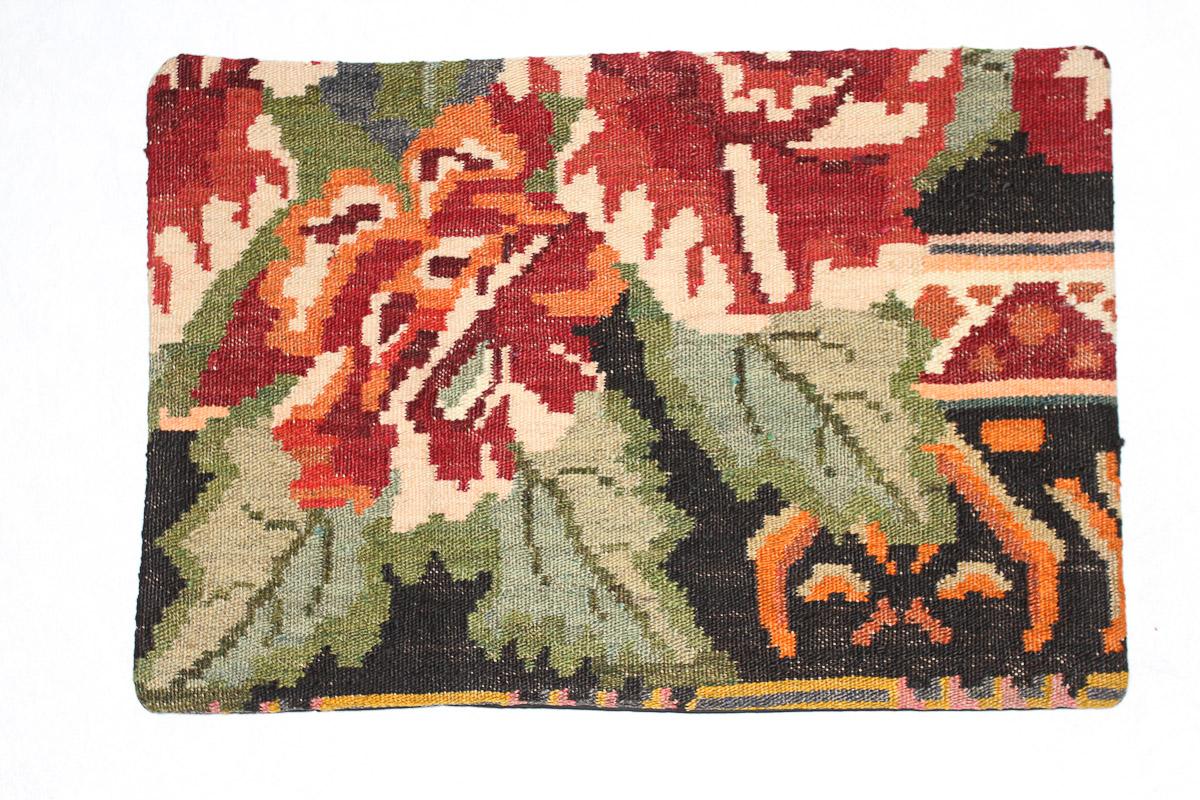 Rozenkelim kussen nr 1552 (60cm x 40cm) Kussen gemaakt van authentieke rozenkelim, inclusief binnenkussen