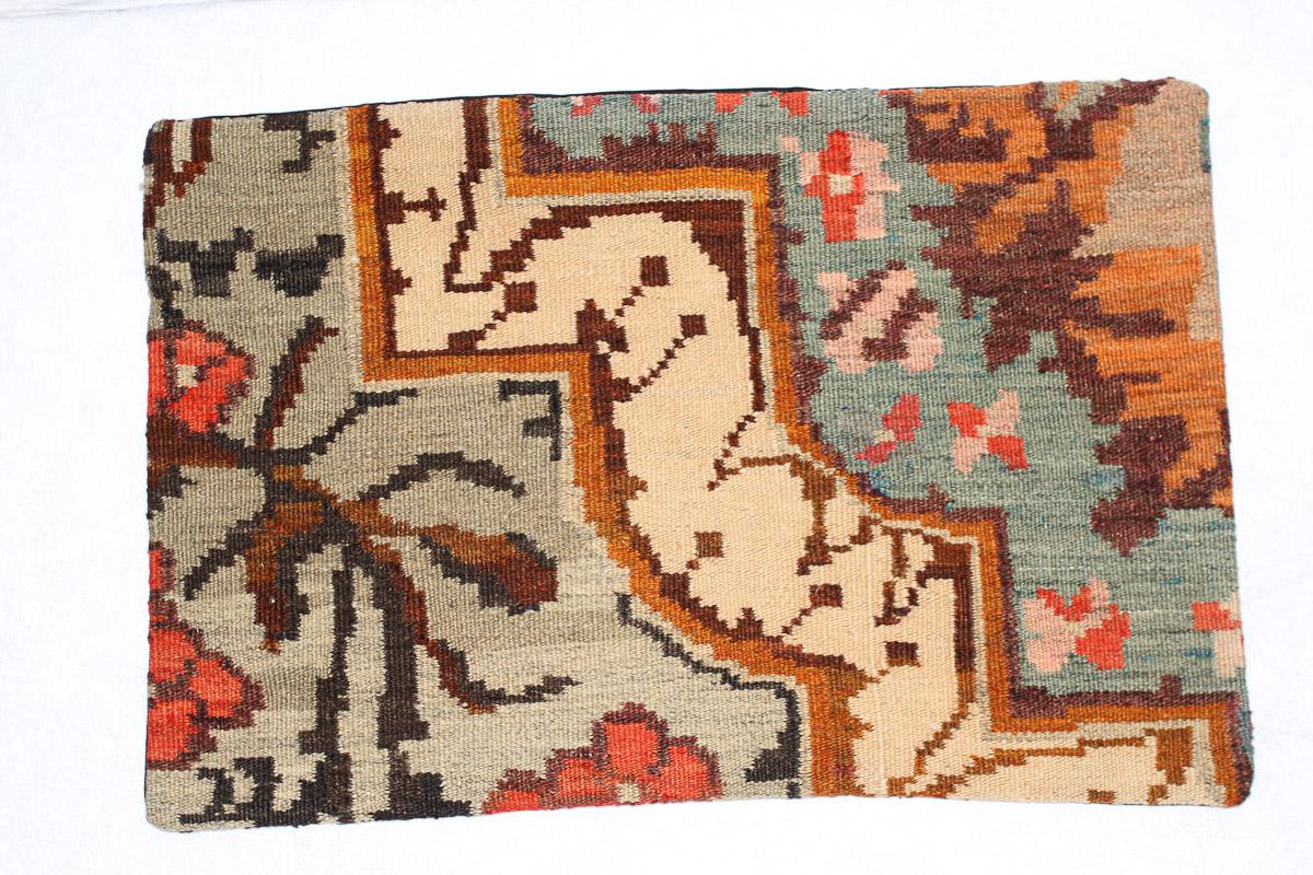 Rozenkelim kussen nr 1565 (60cm x 40cm) Kussen gemaakt van authentieke rozenkelim, inclusief binnenkussen