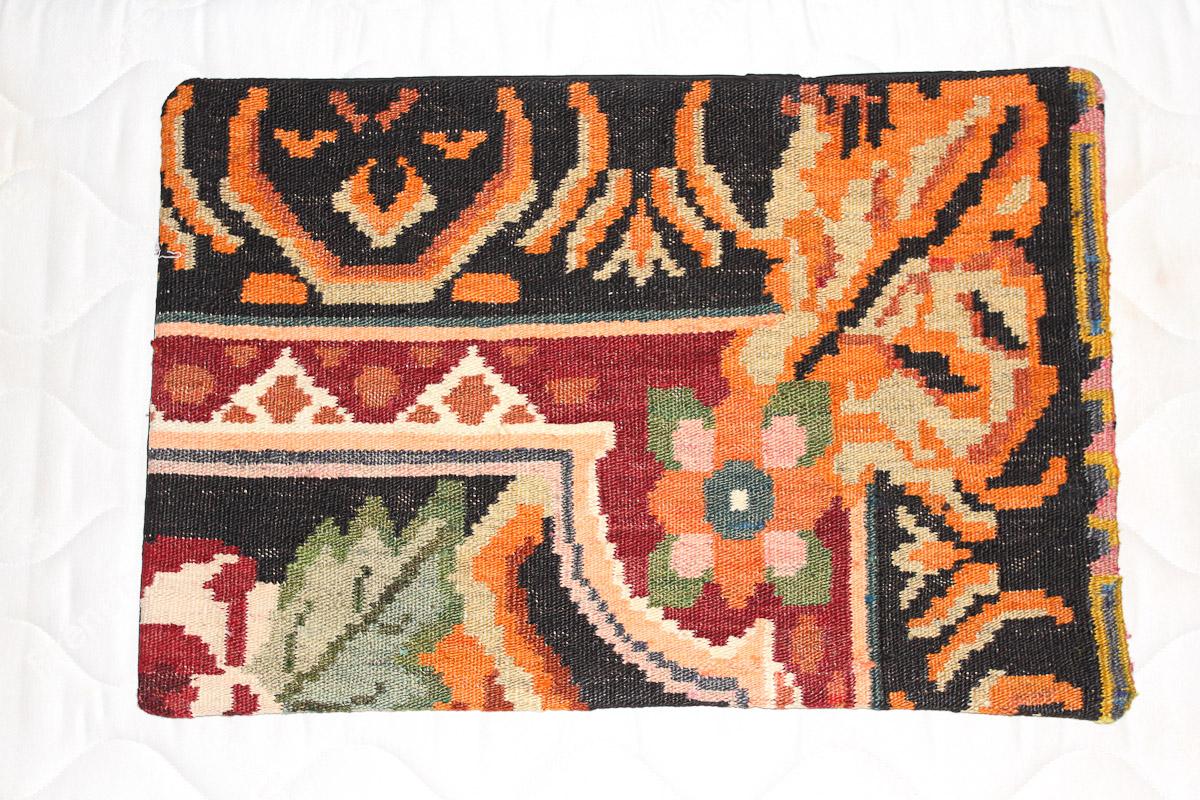 Rozenkelim kussen nr 1574 (60cm x 40cm) Kussen gemaakt van authentieke rozenkelim, inclusief binnenkussen