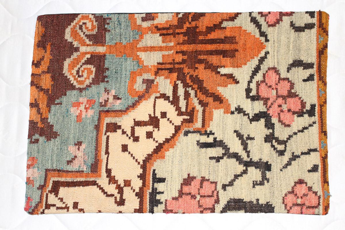 Rozenkelim kussen nr 1590 (60cm x 40cm) Kussen gemaakt van authentieke rozenkelim, inclusief binnenkussen