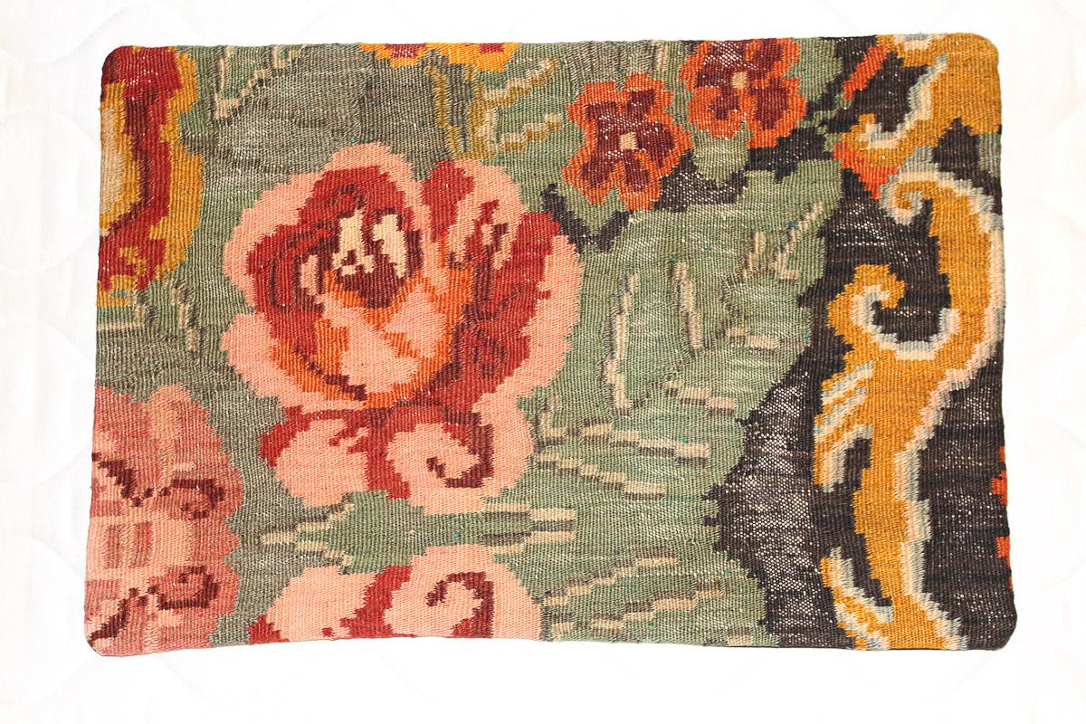 Rozenkelim kussen nr 1600 (60cm x 40cm) Kussen gemaakt van authentieke rozenkelim, inclusief binnenkussen