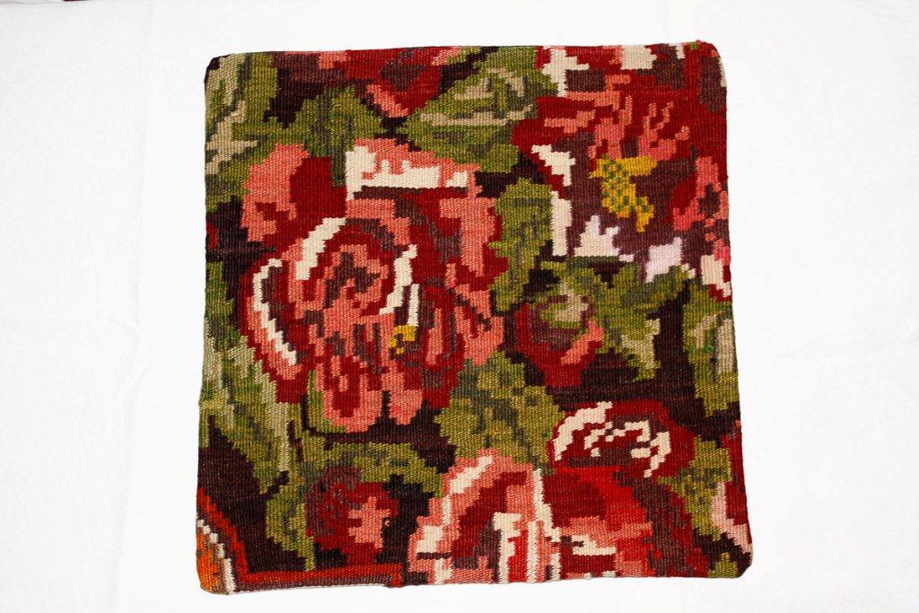Rozenkelim kussen nr 16002 (45 cm x 45 cm) Kussen gemaakt van authentieke rozenkelim, inclusief binnenkussen