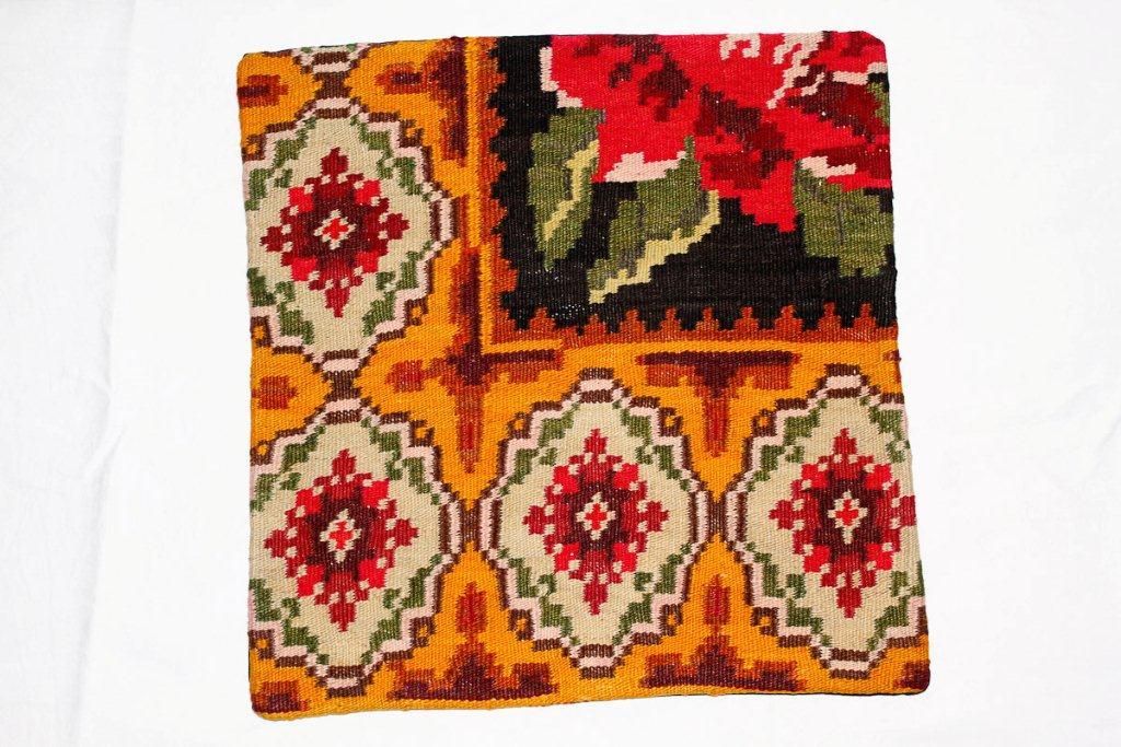 Rozenkelim kussen nr 16005 (45 cm x 45 cm) Kussen gemaakt van authentieke rozenkelim, inclusief binnenkussen