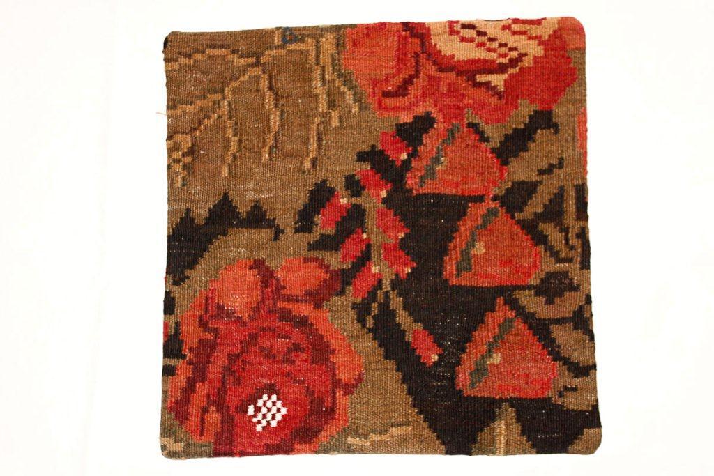 Rozenkelim kussen nr 16008 (45 cm x 45 cm) Kussen gemaakt van authentieke rozenkelim, inclusief binnenkussen