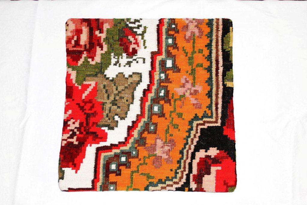 Rozenkelim kussen nr 16012 (45 cm x 45 cm) Kussen gemaakt van authentieke rozenkelim, inclusief binnenkussen