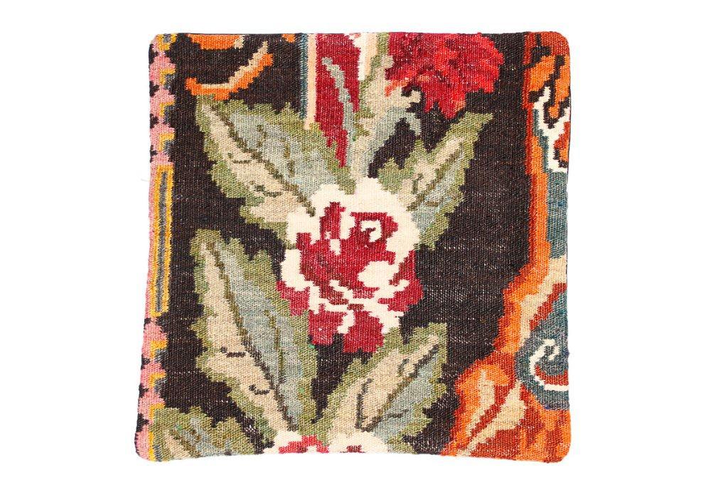 Rozenkelim kussen nr 16013 (45 cm x 45 cm) Kussen gemaakt van authentieke rozenkelim, inclusief binnenkussen