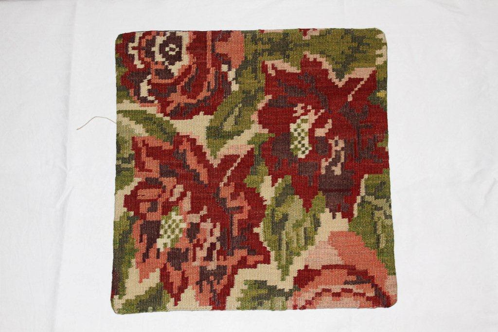 Rozenkelim kussen nr 16014 (45 cm x 45 cm) Kussen gemaakt van authentieke rozenkelim, inclusief binnenkussen