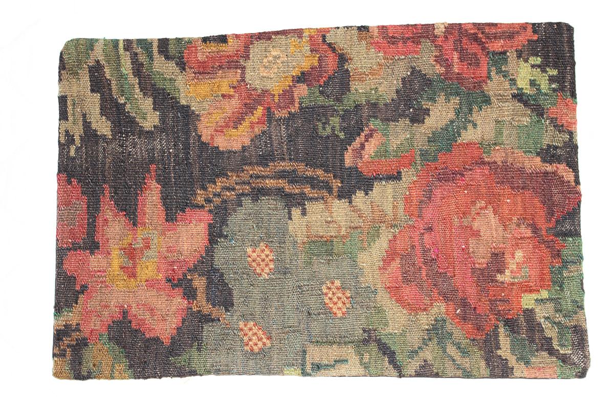 Rozenkelim kussen nr 1602 (60cm x 40cm) Kussen gemaakt van authentieke rozenkelim, inclusief binnenkussen