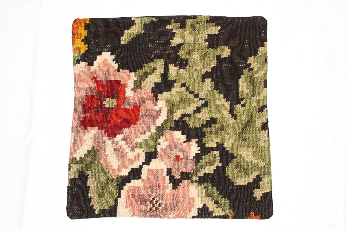 Rozenkelim kussen nr 16026 (45cm x 45cm) Kussen gemaakt van authentieke rozenkelim, inclusief binnenkussen