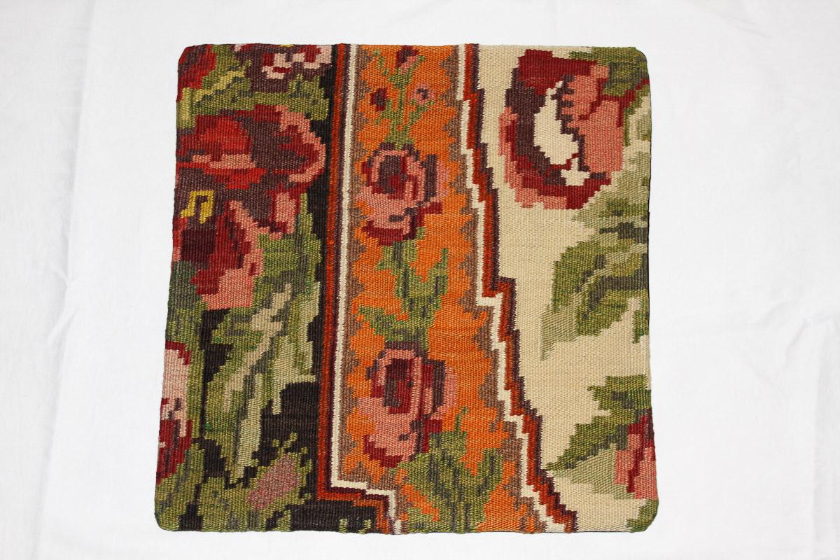 Rozenkelim kussen nr 16027 (45cm x 45cm) Kussen gemaakt van authentieke rozenkelim, inclusief binnenkussen