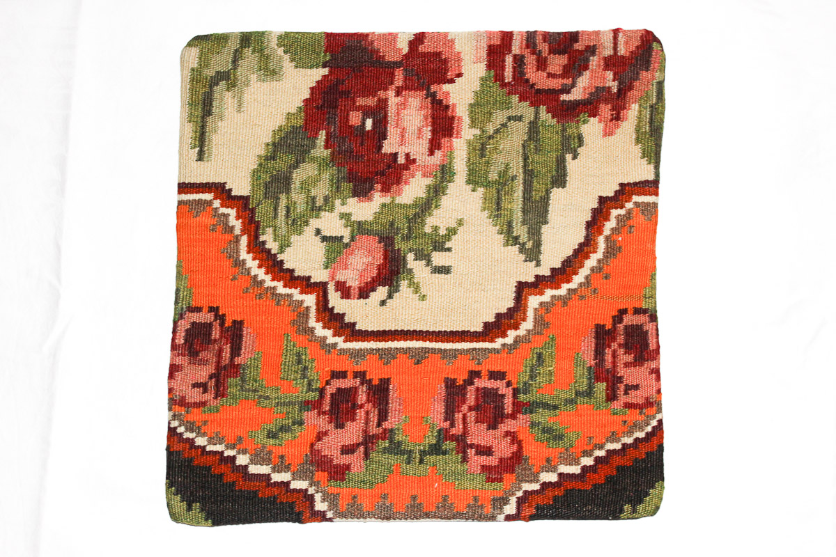 Rozenkelim kussen nr 16031 (45cm x 45cm) Kussen gemaakt van authentieke rozenkelim, inclusief binnenkussen