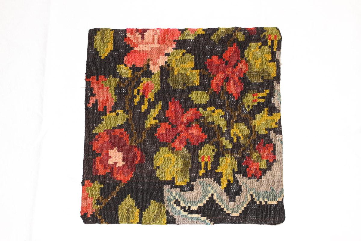 Rozenkelim kussen nr 16034 (45cm x 45cm) Kussen gemaakt van authentieke rozenkelim, inclusief binnenkussen