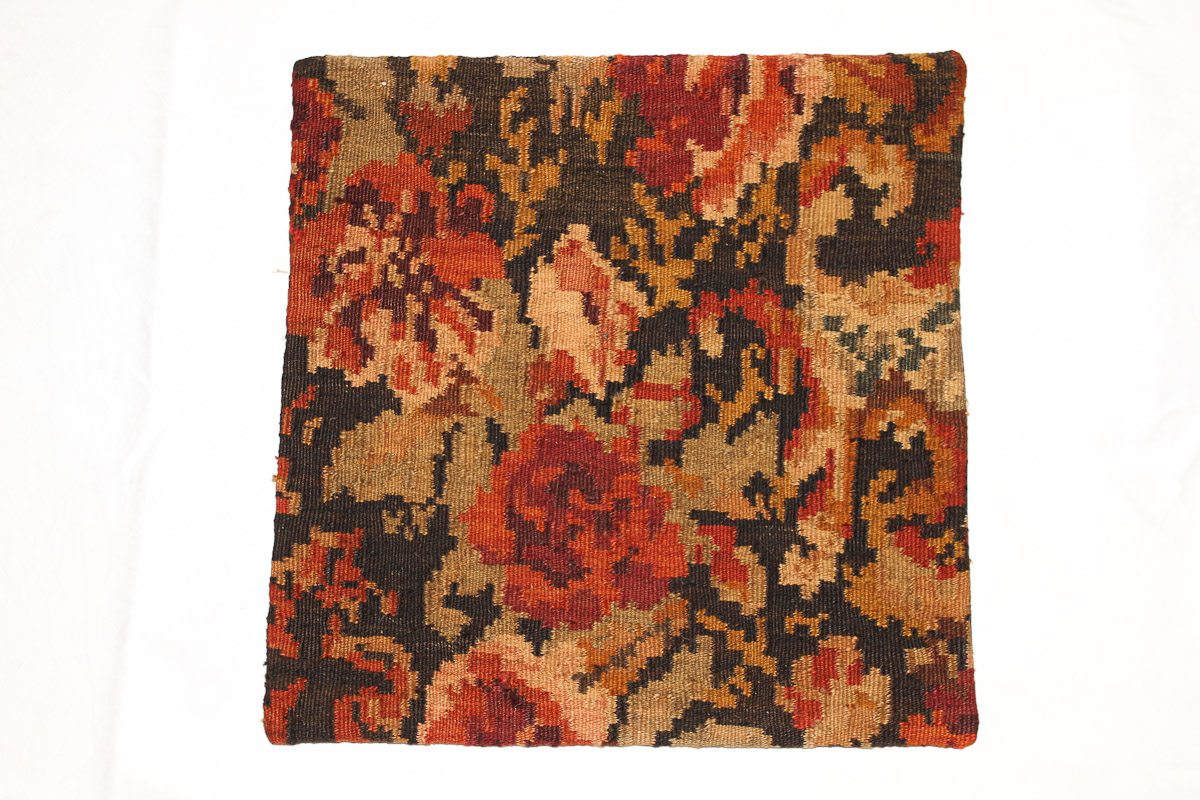 Rozenkelim kussen nr 16036 (45cm x 45cm) Kussen gemaakt van authentieke rozenkelim, inclusief binnenkussen
