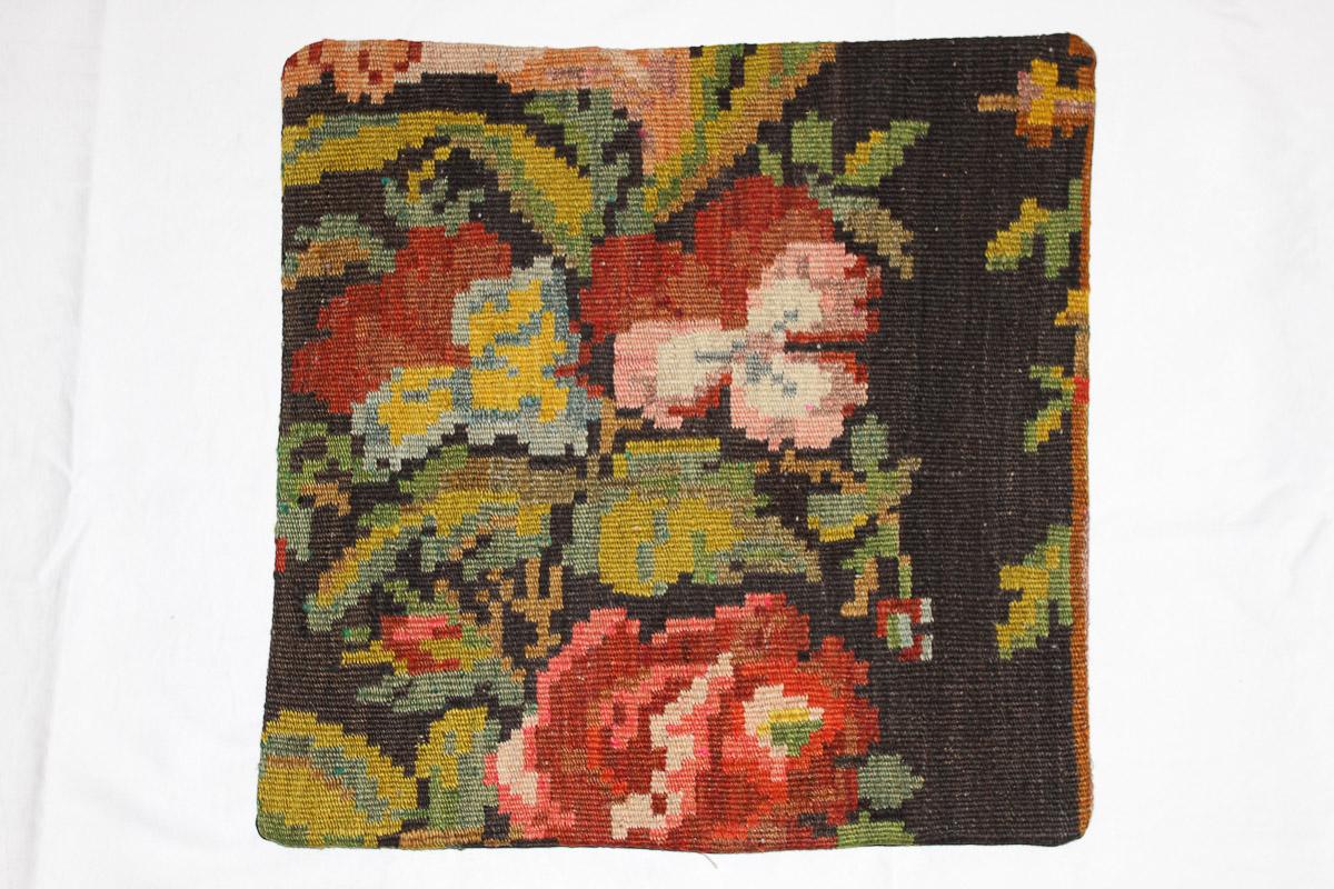 Rozenkelim kussen nr 16042 (45cm x 45cm) Kussen gemaakt van authentieke rozenkelim, inclusief binnenkussen