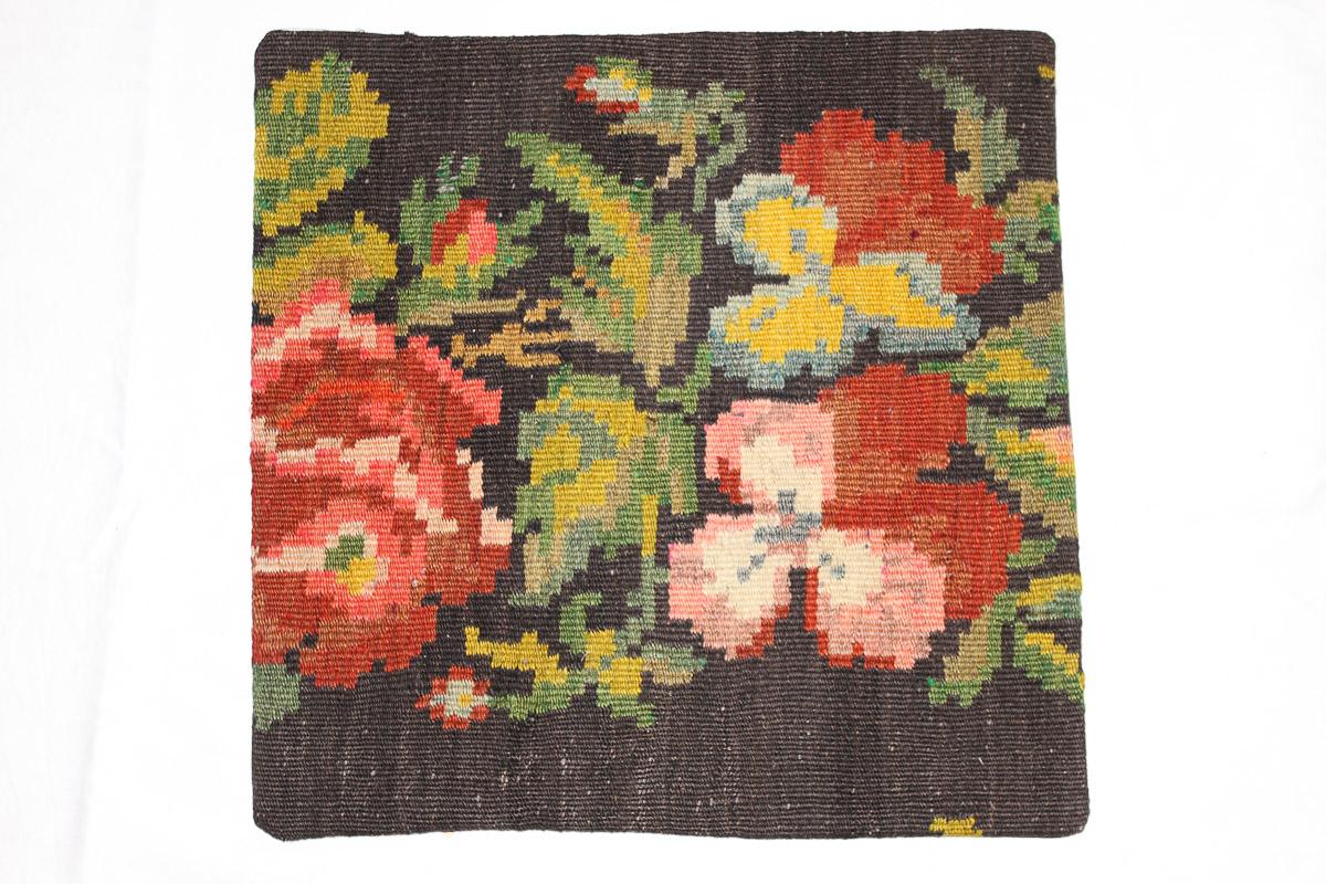 Rozenkelim kussen nr 16043 (45cm x 45cm) Kussen gemaakt van authentieke rozenkelim, inclusief binnenkussen