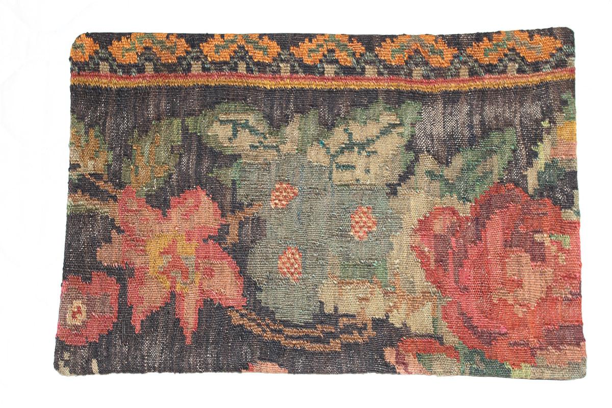 Rozenkelim kussen nr 1605 (60cm x 40cm) Kussen gemaakt van authentieke rozenkelim, inclusief binnenkussen